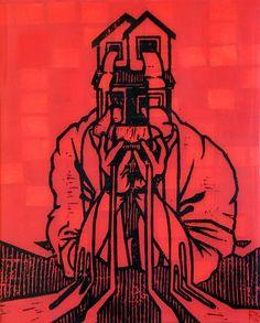 Reuben Kambeitz -  HOME FLAG III, 2015 Acrylic & Archival Ink Linocut on Paper Epoxy Overcoat 10˝ × 8˝