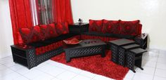 Moroccan living room 2017 Black and red modern design - Living room . Moroccan Living Room, Living Design, Living Room Design Modern, Living Room Designs, Black Sofa, Living Room 2017, Modern Design, Room, Outdoor Furniture Sets
