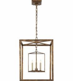 Visual Comfort E.F. Chapman Osborne 3 Light Ceiling Lantern in Gilded Iron with Wax CHC2217GI #visualcomfort #lightingnewyork #lighting