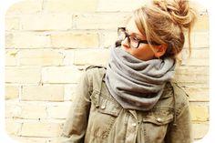 scarf + glasses + hair