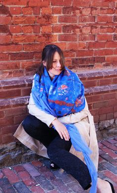 Blue Scarf Blue Shawl Blue Wool Shawl Blue Wrap by elenasfelting, $110.00