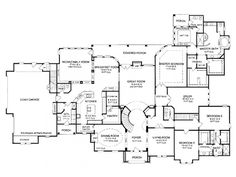 bedroom one story house plan with exercise room, office, formal living, family room. I like this although I would move master suite to the left side of the house and garage to the right side. House Plans One Story, One Story Homes, Dream House Plans, Story House, House Floor Plans, My Dream Home, Dream Homes, 6 Bedroom House Plans, Dream Bedroom