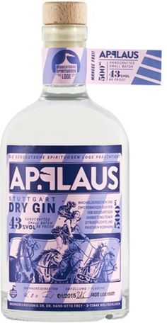 Gin von Applaus in der 0,5l Flasche mit 43% Vol. Alc.