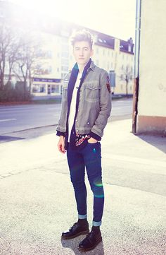 7 For All Mankind Jeans, Dr. Martens Doc Martens, Old Cardigan, Old Jacket, Acne Studios Tee