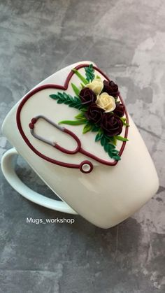 Polymer Clay Crafts, Diy Clay, Coffee Cups, Tea Cups, Fondant Cake Designs, Clay Magnets, Clay Wall Art, Clay Cup, Clay Ornaments