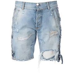Faith Connexion Distressed Denim Shorts ($896) ❤ liked on Polyvore featuring shorts, bottoms, short, jeans, jeans // skirts // shorts, blue, short shorts, blue short shorts, blue shorts and faith connexion