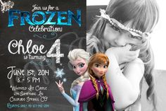 Frozen Birthday Party Invitation - Elsa & Anna w/ Picture - Printable - Download https://www.etsy.com/listing/189120654/frozen-birthday-invitation-w-picture