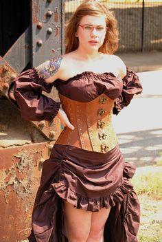 Custom browm leather corset by LadyHeathersFashions on Etsy, $250.00