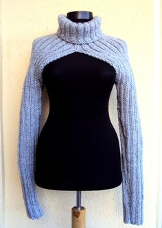 Knit Shrug Sweater Turtleneck Long Sleeve Chunky Bolero Scarf Cowl Women Man Moto Biker Sweater Made to Order Valentine's Day Gift Knit Shrug, Shrug Sweater, Cropped Sweater, Crochet Clothes, Diy Clothes, Poncho Style, Shrug For Dresses, Gowns Of Elegance, Sweater Making