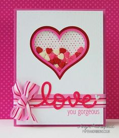 Give out some handmade love with these 21 diy valentines day cards splitcoaststampers foogallery love you gorgeous shaker valentine day card m4hsunfo