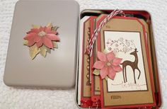 Stampin' Up! Dasher the reindeer Christmas holiday handmade gift tags by Sleepy in Seattle