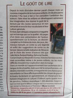 """La publication """"L'Homme nouveau"""" fait la promotion du TétrasLire, le magazine des 8-12 ans qui donne des ailes à la lecture. Article d'avril 2016. Abonnement sur www.albaverba.fr"""