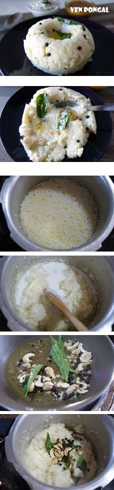Ven Pongal is a traditional South Indian breakfast made with rice and lentils. It is perfectly flavored with a tempering of ghee, ginger, pepper, Jeera and tastes amazing along with a little sambar and coconut chutney. Vegan can skip the milk or use a non-dairy one and then use oil instead of ghee.