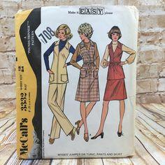 Vintage McCalls 3332 Womens Jumper Tunic Pants Skirt Size 12 Sewing Pattern #McCall #Tunic