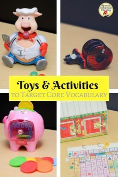 Toys and Activities to Target Core Vocabulary Core vocabulary is an evidenced-based set of words particularly useful for augmentative and alternative communication (AAC) users. I've personally seen huge growth in expressive language skil… Preschool Speech Therapy, Speech Activities, Art Therapy Activities, Vocabulary Activities, Speech Therapy Activities, Preschool Activities, Therapy Ideas, Play Therapy, Articulation Activities
