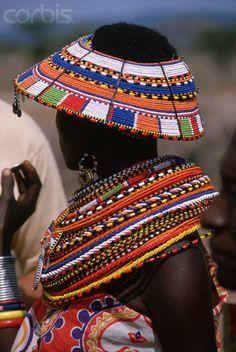 Samburu Villager With Beaded Jewelry, Kenya