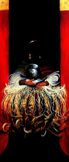 """""""El Caballero de la pluma roja"""", acrílico sobre lienzo, 2013"""
