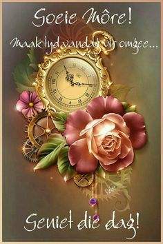 Goeie More, Morning Blessings, Morning Greeting, Rock Crafts, Afrikaanse Quotes, Bracelet Watch, Messages, Blessed, Cocktail Recipes