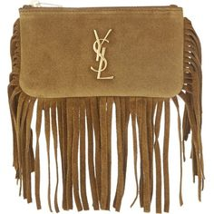 SAINT LAURENT Monogram fringed suede key pouch (¥54,515) ❤ liked on Polyvore featuring accessories, tan, key purse, key bag, yves saint laurent, monogram key ring and key pouch