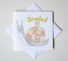 Snailed It Hand-drawn Snail Greeting Card Square by DreyerDraws