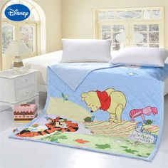 >> Click to Buy << Winnie the Pooh Tigger Piglet Quilts Comforters Twin Single Bedding Cotton Fabric Woven Disney Cartoon Girls Summer Blue Green #Affiliate
