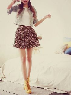 cropped denim jacket + floral skirt