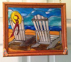 Beach Scene Stained Glass Look/ Handmade by CreativeGlassByBecky Stained Glass Patterns, Stained Glass Art, Mosaic Glass, Handmade Framed Art, Beach Wedding Gifts, Mosaic Projects, Window Art, Beach Scenes, Beach House Decor