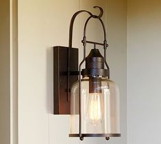 """Taylor Indoor/Outdoor Sconce #potterybarn Set of 2 $339. Kids library. 7x7.5x16"""" 1 60 W filament bulb"""