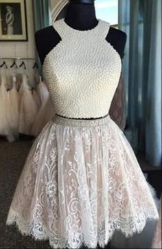 Lace Homecoming Dresses, Two Pieces Homecoming Dresses, High