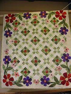 """""""My Corner Garden"""" at Piece by Piece - Pattern here: http://ginghamgirls.biz/shop/gingham-girl-patterns/my-corner-garden/prod_21.html"""