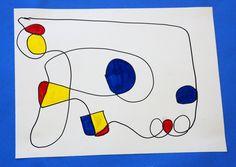 Miro inspired 1st grade art of de kleuren van mondriaan gebruiken.