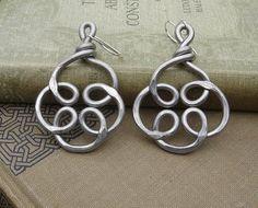 Celtic Knot Flower Swirl Unique Big Earrings by nicholasandfelice