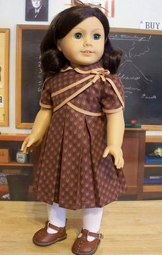 Brown and tan pleated frock for Ruthie. by Keepersdollyduds, via Flickr