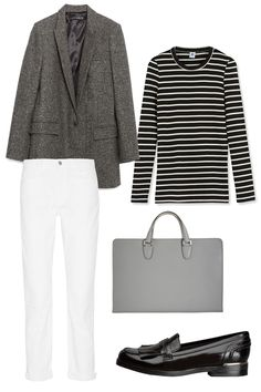 Zara Fancy Blazer, $149; zara.com Petit Bateau Sailor Striped Long-Sleeved Tee, $54; petit-bateau.us J Brand 9022 Georgia Mid-Rise Boyfriend Jeans, $190; net-a-porter.com Valextra Document Holder with Handles, $2,810; barneys.com MARC FISHER LTD Roryer Man-Tailored Loafer, $155; marcfisherfootwear.com   - ELLE.com