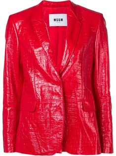MSGM crocodile effect blazer - Red Mens Leather Shirt, Leather Jacket, Perrie Edwards Style, The Girl Who, Msgm, Italian Style, Crocodile, Going Out, Women Wear