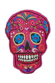 Day Of The Dead Sugar Skull Embroidered Pillow Dia De Los...…