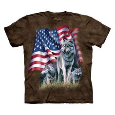Amazon.com: The Mountain Mens Wolf Flag Short Sleeve Tee: Fashion T Shirts: Clothing