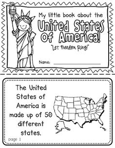 America Booklet (A Country Study!) United States Booklet (A Country Study!)-- Use during social studies units about countries around the world! Us Geography, Teaching Geography, Teaching History, History Education, Art Education, Physical Education, Preschool Social Studies, Map Skills, Library Skills