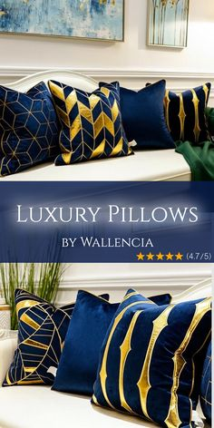 DEEP BLUE - Luxury Pillows by Wallencia If you're looking for stunning pillows, homedecor, living ro Blue And Gold Living Room, Blue Living Room Decor, Blue Kitchen Decor, Living Room Photos, Elegant Living Room, Elegant Home Decor, Home Living Room, Living Room Designs, Bedroom Decor