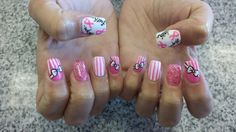 Nails by my girl Kristy in Santa Paula!!!! They are dedicated to my grandma who has stage 4 breast cancer!