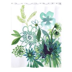 Aqua and Green Watercolor Flower Shower Curtain