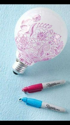 Draw on your light bulbs to create pictures/designs on your walls