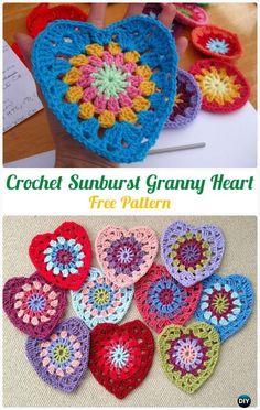 CrochetSunburstGrannyHeart FreePattern- Crochet Heart Applique Free Patterns