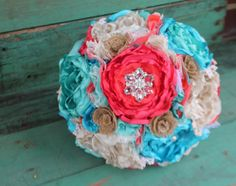 Ivory Coral turquoise aqua and burlap romantic by CraftyFrills, $195.00 one of my favs!