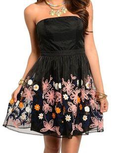 Cute Strapless Flower Print Party Dress Empire Waist Semi Formal Dress Sz 2 4 6 #Fashion #Style #Embroidery #Formal-Dresses #Strapless-Dresses