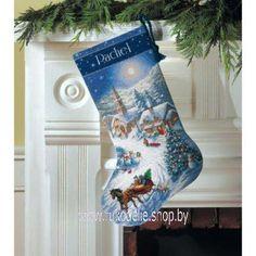 Прогулка в сумерках, новогодний сапожок. Вышивка / Embroidery. Рождество, Новый год. Kits for embroidery. Набор для вышивки крестом Dimensions. Поделки своими руками, подарок.