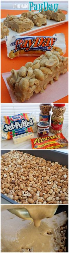 Homemade PayDay Candy Bars (Refrigerate to setup properly)