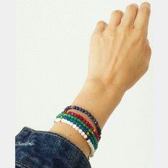 Bracelets perles en agate, lapis lazuli, nacre #elodietrucparis --> www.elodietrucparis.tictail.com