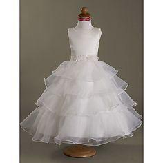 πλατεία μπάλα φόρεμα τσάι-μήκους σατέν οργάντζα λουλούδι κορίτσι φόρεμα – EUR € 77.36