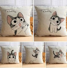 Cheese cat linen pillow sleep office sofa cushion for leaning on of pillows with core creative lovers on Etsy, $16.80
